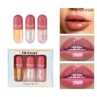 Crystal Gelee Clear Lip Gloss Capsule Lip Plumper Öl Set Glänzend Feuchtigkeitsspendende Frauen Makeup Lippenfarben Anzug