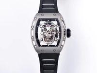 JB Herren Multifunktionale Automatische mechanische Uhr RM052 Real Tourbillon Bewegung Schädel Design Modell Transparent Fall Titanialial SI