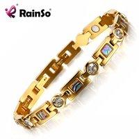 Rainso Bio Braccialetto energetico con 3 fibbie intelligenti Braccialetto magnete Elementi di assistenza sanitaria Bracciali d'oro per le donne Girlfriend Gift Y1130