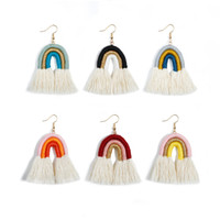 Colorful Layered Rainbow Tassel Earrings Rope Knitted Indivi...