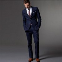Spring Tailored Herren Formale Anzüge Zwei Teile Navy Blue Bridgroom Hochzeit Tuxedos Benutzerdefinierte Online-Partyanzug (Jacke + Hose) Y201026