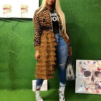 Leopard Jacket 여성 패치 워크 메쉬 Pleated Design 봄 2020 코트 캐주얼 outwear 숙녀 위장 재킷 대형 패션 XL1