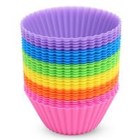 ケーキ金型カップケーキの再利用可能なシリコーンマルチカラーベーキングカップはケーキのマフィンプディングに使用されます