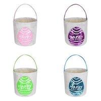 Пасхальные кролики печатают ведро холст хлопчатобумажный кролик пасхальная корзина детей пасхальные яйца яйцо конфеты для хранения ведра Rra3946