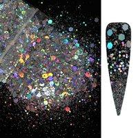 25g / bag Голографический коренастый ногтя блеск блеск блестки лазерные смеси шестигранные формы блестящие хлопья ломтики маникюр ногтей искусства украшения