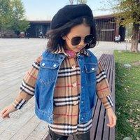 Fashion New Kids Plaid Shirt + Denim Waistcoat 2pcs Sets Sets Children Sholen Plaid Shirt Boys Girls Double Pocket Vest Vest A5175