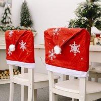 Счастливого Рождества стул крышка красная рождественская шляпа кабель крышка отель Hotel Home стул шляпа украшения для дома1