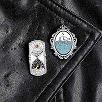 Lonely Drift Bottle Specchio Smalto Smalto Pin Giorno Giorno Giorno Giorno Giorno Giorno Pins Spille Brocche per Badge per vestiti Borsa Zaino Regalo Gioielli1