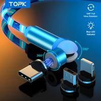 Topk 540 Gire a luz de fluxo LED Cabo magnético Micro USB Tipo C Tipo C Cabo de carregamento magnético de carregamento rápido para telefone Xiaomi