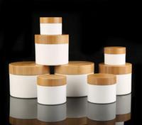 30g 50g 250g 150ml / 150g Vider le pot en bois haut de gamme Pot PP JAR, Bamboo Bouchon en plastique Blanc / Brown, Crème Cosmétique Box N Bamboo Cap Sn2142