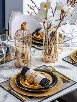 LUXTRY GOLD Metall Vogel Käfig Form Vase Dekoration Home Wohnzimmer Abendtisch Büro Blume Anordnung Glas Vase1