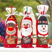 زينة عيد الميلاد ثلج الغزلان الملونة حزب اللوازم العشاء الجدول ديكور الشمبانيا حزمة زجاجة النبيذ ساحة غطاء 1