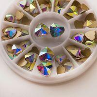Nail Art Süslemeleri Kalp Şekli 20 adet Olmayan Düzeltme Strass Rhinestones Çivi Charms Tutkal Kristal Diamonds DIY El Sanatları Aksesuarları