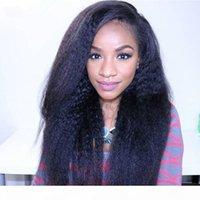 Сексуальная высокая плотность натуральный глядя черный kinky прямые полные кружевные парики термостойкие беззвучные синтетические парики кружева передних париков с волосами младенца