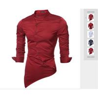 Primavera e outono 2019 Seda e tecido de cetim de alta qualidade pequena colarinho masculino camisa de auto-cultivo de cor pura camisa de manga comprida dos homens