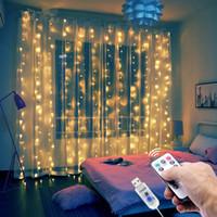 Guirlande de rideau de 3 m à LED sur la fenêtre USB String Lights Fairy Festoon Contrôle Télécommande Nouvel An Décorations de Noël pour la chambre à la maison
