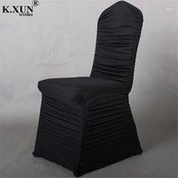 Preço por atacado preço plissado lycra spandex cadeira capa ruffled cadeira de banquete capas para casamento festa de evento decoração de Natal1