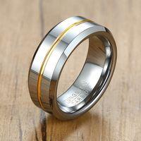 Мужские 8 мм вольфрамовый карбид кольцо серебряный цветовой тон скошенные края свадебные бренды мужья подарки размером от 7 до 12 лет