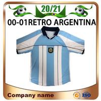 2000/2001 Retro Argentina # 10 Maradona Fussball Jerseys 00/01 Argentinien Home Batistuta Messi Kurzarm Fußball-Hemd Uniformen