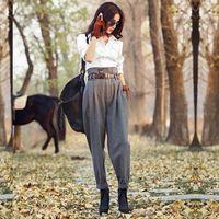 Айгиптос осень зима женские шерстяные брюки женщины винтаж Англия стиль полоса тонкий тощий брюки случайные лодыжки длина шерстяных брюк 201103