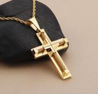 Großhandel Hip Hop Schmuck Kreuz Halskette Herren Goldkette Anhänger Freies Verschiffen Weihnachtsgeschenk für Männer