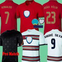 2020 Portogallo Pre Match 블랙 트레이닝 Fernandes 2021 축구 유니폼 20 21 André Silva Joao Felix Pepe Polo 축구 셔츠 키트 세트