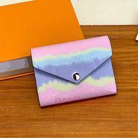 Billetera shibori corbata tinte sobre estilo mujer verano 2020 nueva billetera con caja de regalo naranja rosa rojo azul 3 colores corto 3 veces billetera