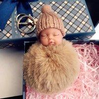 Factorywkvapompom 12 색 귀여운 잠자는 아기 인형 키 체인 토끼 모피 공 체인 자동차 열쇠 고리 여성 키 홀더 가방 Penda