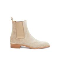 Super Quality мягкие замши красные нижние сапоги короткие лодыжки ботинок Orlato замшевые сапоги мужская модная обувь черная коричневая красная подошва обувь быстрый корабль
