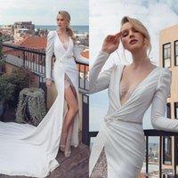 2021 Charming High Slit Sereia Vestidos de Noiva com mangas compridas Lace Applique Frisado Tribunal Trem Ruched Casamento Vestidos Bridal Plus Size