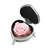 Regalo avvolgere la scatola d'argento a forma di cuore rosa della rosa del regalo Fiore reale per i regali di San Valentino Donne della mamma Donne di nozze di nozze con il legno