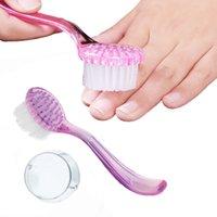 2 Renkler Tırnak Temizleme Fırça Araçları Manikür Pedikür Şeffaf Beyaz Akrilik Makyaj Fırçaları Için Toz Tozu Fırçası Kaldır