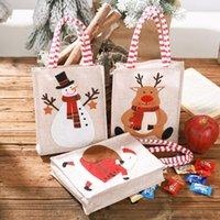 Sacs de Noël Sac brodé fourre-tout réutilisable en lin enfants cadeau de sucrerie sac de rangement Sac Décorations de Noël DHA2356