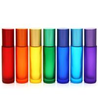 2021 Alta calidad azul / verde / rosa / negro / ámbar Mini 10ml Roll en botella de vidrio para fragancias Aceites esenciales Bola de rodillo de acero inoxidable