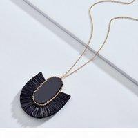 Moda kendra tarzı tasarımcı ilham marka takı oval taş rafya saman fan saçak püskül kolye kolye kadınlar için