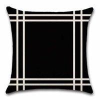 Siyah Bej Geometrik Desen Yastık Örtüsü Dekorasyon Ev Kanepe Sandalye Dükkanı Koltuk Oturma Odası Hediye Arkadaşı Mevcut Yastık1