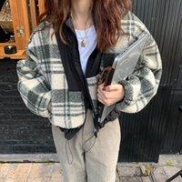 المرأة جاكيتات الغريبة كيتي منقوشة lambswool الدافئة قميص خليط المرأة 2021 عارضة الشارع فضفاض معطف الشتاء أفخم قمم