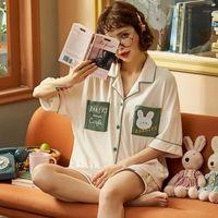 Nightwa venta caliente ropa de dormir linda dibujos animados pijamas sueltos homewear nuevo verano ropa de dormir juegos bolsillo pijama suave nighty pijamas mujeres1