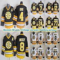 Erkek Boston Bruins Vintage Formalar 4 ORR 8 Neely 77 Bourque 24 O'Reilly 7 Esposito 12 Oates CCM Hokey Jersey