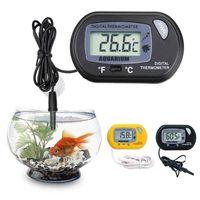مصغرة lcd الرقمية حوض السمك ترمومتر خزان الأسماك درجة حرارة المياه أداة أسود الأصفر خزان السمك ميزان الحرارة مع الاستشعار السلكية KKA2916
