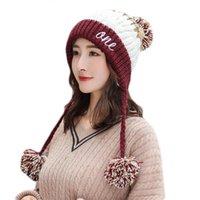 Kadınlar Kış Tıknaz Örgü Kontrast Renk Bere Şapka Harfler Nakış Kalın Peluş Çizgili Sevimli Ponpon Earflap Trapper Cap