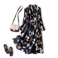 Weinlese gedruckt Revers Frauen Kleid Elegante Mode Hohe Taille Mittellange Kleider Weibliche 2021 Frühling Sommer Lose Lady Vestidos Q0111