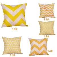 Copertura del cuscino della biancheria Giallo Giallo Twill Grey Cushion Coperchio Nordico Stile geometrico Casa Decorativa per la casa 45x45cm DDA2371