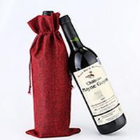Jute vinpåsar champagne vinflaska täcker gåva påse burlap förpackning väska bröllopsfest dekoration vin väskor dragsko täcke ea2179