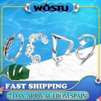 WOSTU 100% 925 стерлингового серебра липкий кот с длинным хвостом кольцо пальцев женщин кольцо регулируемое вовлечение драгоценностей1