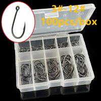 100 pcs / box 3 # -12 # preto ise gancho alto aço carbono farpado farpado ganchos de pesca carpa pesca pesca pescar tackle caixa transparente sf-223