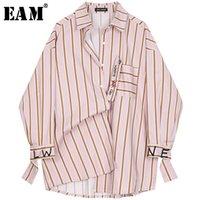 [EAM] Yeni Bahar Sonbahar Yaka Uzun Kollu Kırmızı Çizgili Baskılı Mektup Büyük Boy Gömlek Kadın Bluz Moda Gelgit JQ226 Y200828