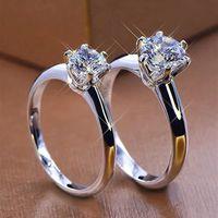 Inbeaut تمرير الماس اختبار ممتازة قطع 1 ct d اللون مويسانيت حلقة 925 فضة خواتم الخطبة النساء المجوهرات الفاخرة 201119