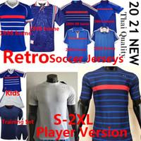 França versão Torcedor jogador Camisa de futebol treino Set Retro France Soccer Jerseys 1982 84 96 98 Zidane 2000 2004 2006 Home Away Homens crianças kits Camisas de futebol