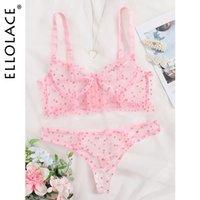 Ellolace 핑크 폴카 도트 란제리 세트 투명한 여성 속옷 섹시한 브래지어 세트 레이스 사랑 Lenceria 란제리 여성용 세트 X1122